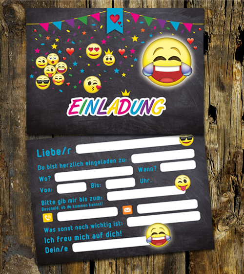 9 einladungskarten kindergeburtstag emoji emojis f r. Black Bedroom Furniture Sets. Home Design Ideas